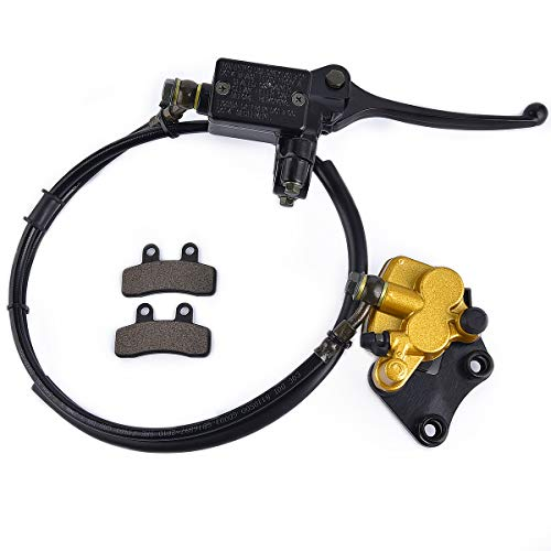 Front Disc Brake Master Cylinder Caliper with Brake Pad Assembly Replacement for Chinese 50cc 70cc 90cc 110cc 125cc Dirt Bike Pit Bike