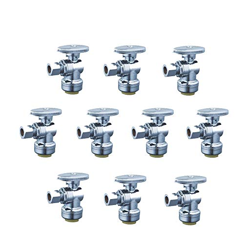 WiseWater 1/4 Turn Angel Stop Push-Fit Valve, 3/8 Inch Compression x 1/2 Inch Push, Chrome Finish w/Zinc Oval Handle, Lead Free Push Fit Valve Compatible With PEX, CPVC and Copper Tube (10-pack)