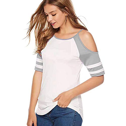 DREAMING-Frühling Und Sommer All-Match Farblich Abgestimmtes Hemd Lose Trägerlose Kurzärmelige T-Shirt Frauen grau l