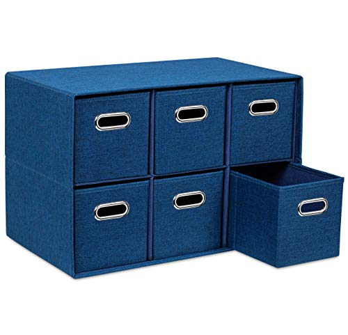BirdRock Home Navy Linen Cube Organizer Shelf with 6 Storage Bins – Strong Durable Foldable Shelf – Kid Toy Clothes Towels Cubby – Collapsible Bedroom Fabric Shelves and Cubes
