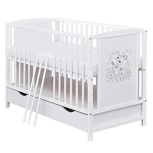Baby Delux Babybett Kinderbett Gitterbett Bärchen 120x60 mit Schublade Bettkasten Weiß mit Matratze