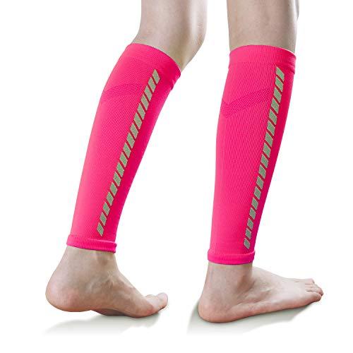 EXski Beinlinge Wadenbandage Waden Kompressionsstrümpfe Calf Sleeve Laufen Radfahren Marathon Triathlon Herren Damen, Rosa
