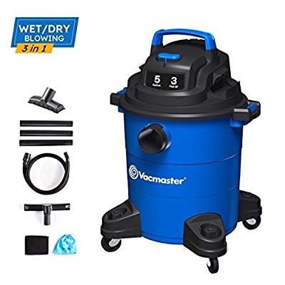 Vacmaster 3 Peak HP 5 Gallon Wet Dry Vacuum Cleaner Lightweight Powerful Suction Shop Vacs with Detachable Blower for Dog Hair,Garage,Car,Home & Workshop