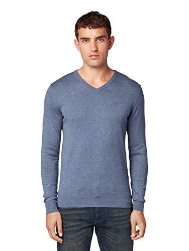 TOM TAILOR Herren Basic V-Neck Pullover, Blau (Vintage Indigo Blue 18964), L
