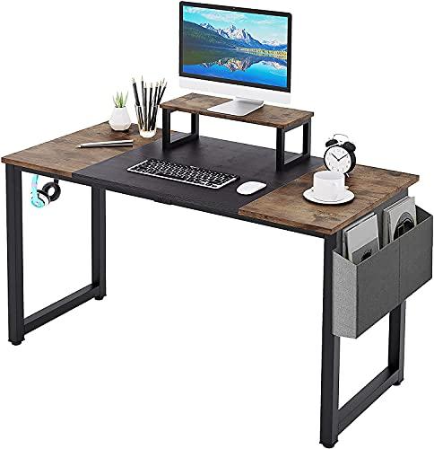 Dripex Computertisch, Laptop-Schreibtisch mit Ablagefach,Holz und Metall, Arbeitstisch für das Heimbüro,120x60x75cm, Rustikales Braun