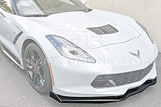 Extreme Online Store Z06 Stage 2 Style ABS Plastic Painted Carbon Flash Metallic Front Bumper Lower Lip Splitter with Pair Carbon Fiber Side End Caps for 2014-2019 Chevrolet Corvette C7