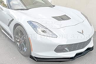 Extreme Online Store Z06 Stage 2 Style ABS Plastic Painted Carbon Flash Metallic Front Bumper Lower Lip Splitter with Pair Carbon Fiber Side End Caps for 2014-2019 Chevrolet Corvette C7