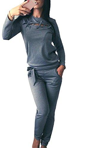 Minetom Damen Elegant Langarm Kapuzenpullover Sets Sport Hoodie Lange Hose Anzug Bandage Zweiteilig Pullover Sportanzug Sportbekleidung Grau DE 42