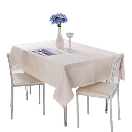 FUYUFU 130×170cm Couleur Pure Nappe Rectangulaires Pour Table à Manger Table Basse Nappe Adapté Pour Cafés Maison Restaurant Bar Salon (Beige)