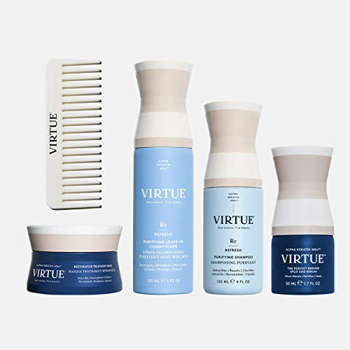 VIRTUE Self-Care Kit | Hair Mask, Clarifying Shampoo, Split End Serum, Leave-in Conditioner