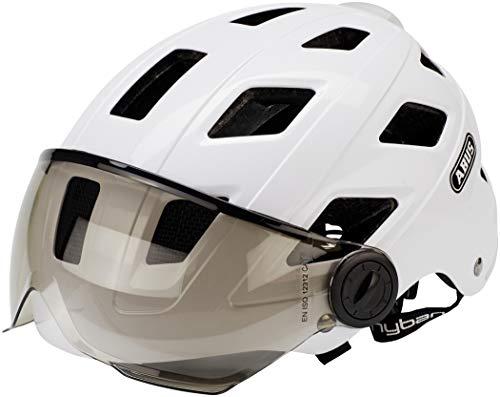 Abus Hyban+ Helm White, Smoke Visor Kopfumfang M/L | 56-61cm 2019 Fahrradhelm