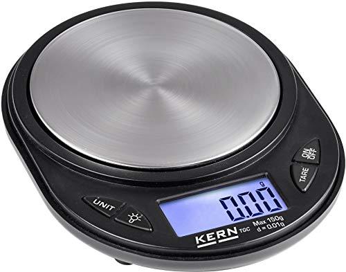 Kern TGC 150-2 - Balanza de bolsillo con amplia superficie de pesaje, Plana con práctico platillo de tara, Campo de pesaje [Max]: 150 g, Lectura [d]: 0,01 g