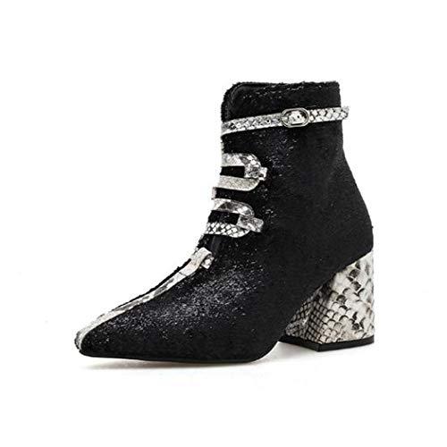Yue Century Mode Damen Stiefel Schlangenmuster Spitzen Kopf klobige Ferse Martin Stiefel Klassische...