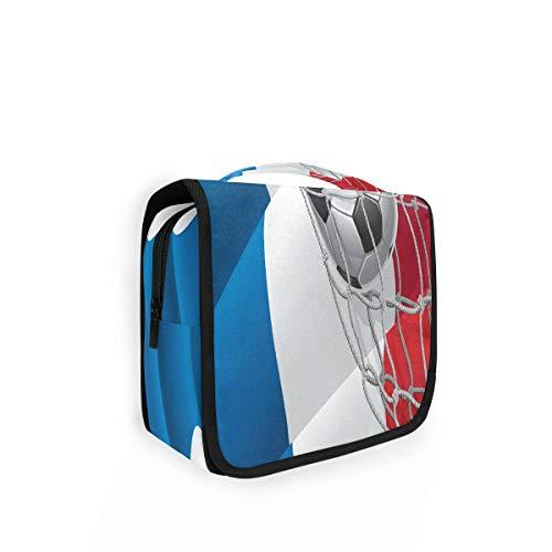 Kulturtasche zum Aufhängen, französische Flagge, Fußball-Organizer, Kulturbeutel, Kosmetiktasche, Reisetasche mit 4 Fächern für Frauen
