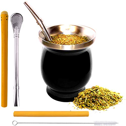 SPHERE NATURE | Set Calabaza Mate + Conjunto de bombilla + paja de bambú reutilizable + escobilla | Taza Argentina Cuenco Vaso Matcha Bio Kit Argentino Inox | Yerba Mate Té Verde
