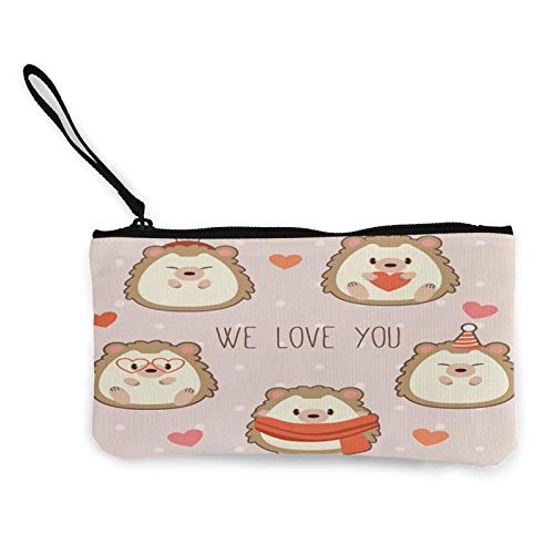 XCNGG Portamonete Shell custodia Cute Hedgehog With Heart Coin Purse Canvas Change Pouch Cute Fashion Wallet Bag Small Zipper Key Holder For Shopping Outdoor Activities