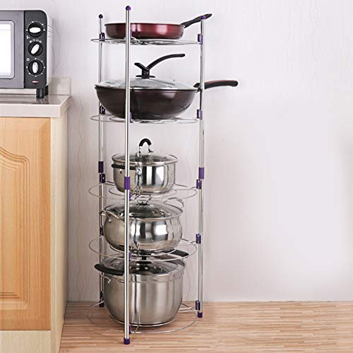 Pot Rack Pan Saucepan Stand 5 Tier Wire Shelving Unit Stand Home Multi-Functional Kitchen Pans Pots Storage Shelf Organizer Holder Standing for Home Kitchen Bath Room Study Living Room
