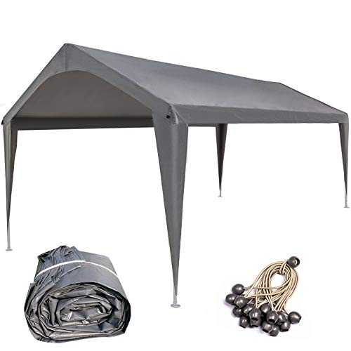 Sunnyglade 10x20 Feet Carport Replacement Top Canopy Cover with Fabric Pole Skirts and Accessories for Car Garage Shelter Tent, Dark Grey(Only Top Cover)