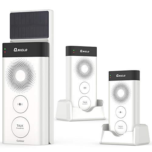 Wireless Doorbells Intercom Solar Powered, Rechargeable Intercoms Wireless Door Bell Chime, 2640 Feet Long Range Intercom Doorbells with 2500mAh Removal Batteries, 20 Chimes & 3 Levels Volume