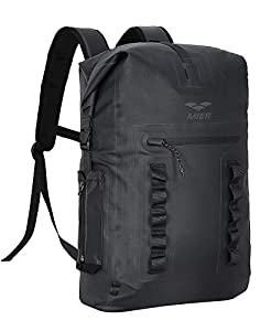 MIER Waterproof Backpack Sack Roll-Top Closure Dry Bag Lightweight for Kayaking, Rafting, Boating, Swimming, Camping, Hiking, Beach, Fishing, Black, 30L