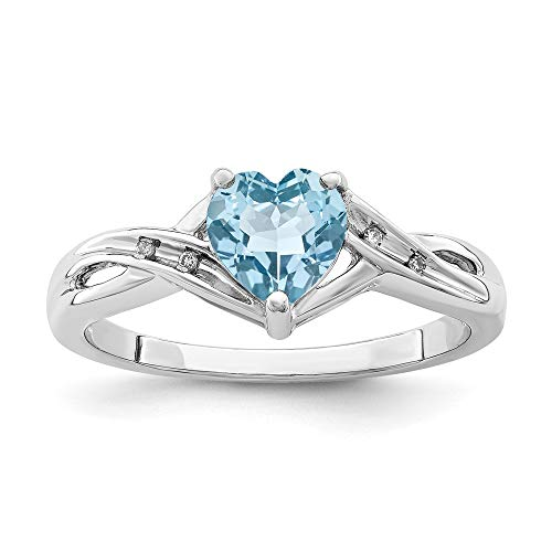 925 Sterling Silver Diamond Swiss Blue Topaz Heart Band Ring Size 7.00 Love Gemstone Fine Jewelry For Women Gifts For Her