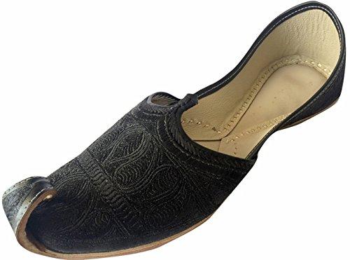 Step n Style Herren flache schwarze Zari Khussa Schuhe Pakistani Stil Punjabi Jutti, Schwarz - Schwarz  - Größe: 45 EU