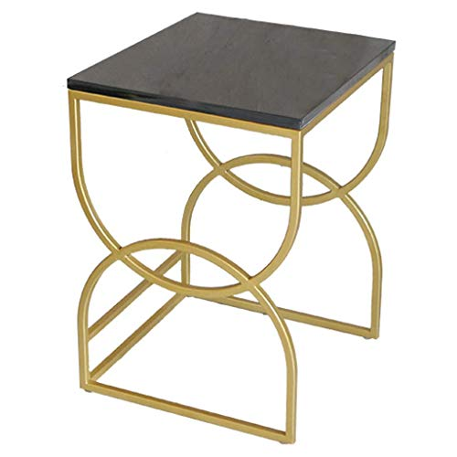 Modern Side End Table Square Marble Nesting Tables,Set of 2 End Side Tables Nightstands,With Metal Frame Living Room Coffee/Side/Center Tables (Color:Black,Size:Small)
