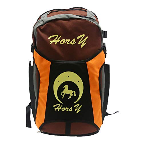 UNISTRENGH Professional Horse Riding Boot Bag Helmet Bag Parent-Child Equestrian Horse Riding Backpack with Hat Compartment (Brown, for Child(17.3''H9.8''W))