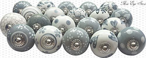 Juego de 20 pomos de puerta de cerámica pintados a mano, color gris y blanco