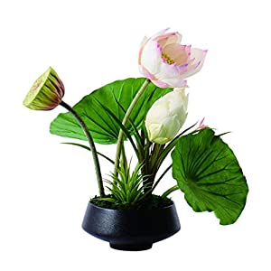 XCY Beautiful Artificial Flowers Lotus-Shaped Artificial Flower Bonsai is Used in Living Room, Dining Room and Office to Place Simple Silk Flower Design Artificial Flowers Fake Plants Decor