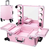 Chende Pink Pro Studio Artist Train Rolling Makeup Case with Light Wheeled Organizer, Large Portable Vanity Case with Mirror, Trveling Cosmetic Case for Business Trip (23.03' X 15.75')