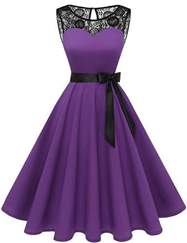 bbonlinedress 1950er Ärmellos Vintage Retro Spitzenkleid Rundhals Abendkleid Purple XL