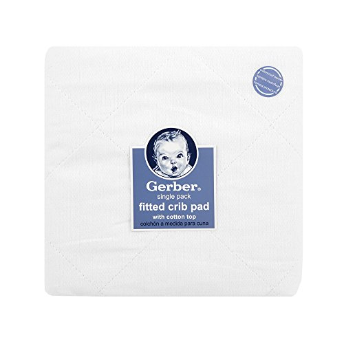 "Gerber Quilted Fitted Crib Pad with Waterproof Barrier, White, 28"" x 52"