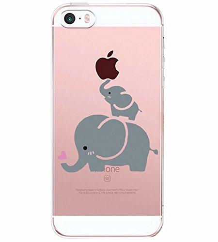 Alsoar Compatibile/Sostituzione per iPhone SE Cover Clear iPhone 5 iPhone 5S Custodia Summer Panda Drink Transparente Silicone Cover TPU Gel Protettivo Anti-Scratch Non-Slip Skin Shell (Elefante)