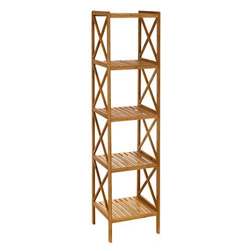 Estantería de 5 baldas nórdica marrón de bambú para baño Sol Naciente - LOLAhome