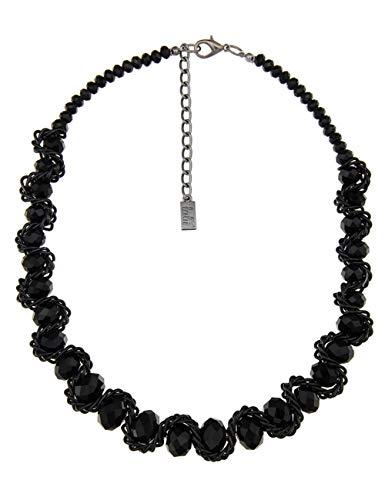 Leslii Damen Kette Geo Wire, Mittel Lange Glasperlen Kette in Schwarz, Modeschmuck Collier Perlenkette Statement Halskette, 52cm