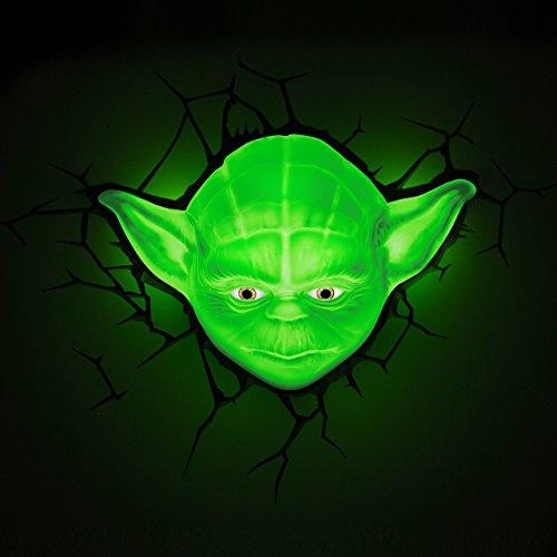 TruffleShuffle 3D Light FX - Lámpara de Pared LED para niños con diseño de Yoda de Star Wars, luz Nocturna para niños con Apagado automático y Adhesivo para Pared