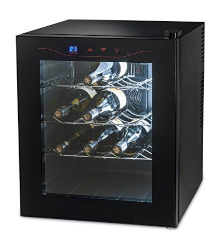 MEDION (MD 15803) Weinkühlschrank (46 Liter, 16 Flaschen, LED Display, Touch, Doppelscheibe, 14°C, EEK A) schwarz