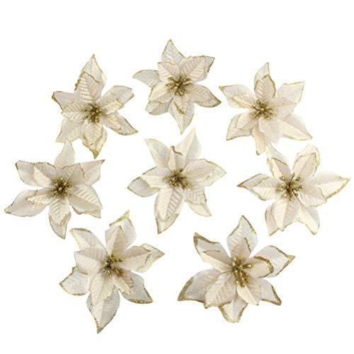 Toyvian Flores de Navidad 16 Piezas Flor de Pascua decoración de Adornos de árbol de Navidad (Dorado)
