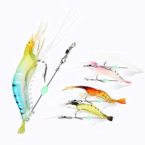 Tomato Palace Saltwater Fishing Lures| Soft Luminous Shrimp Lure Bait, Fishing Tackle for Trout, Bass, Redfish, Flounder (5 pcs)