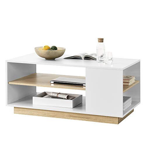 [en.casa] Couchtisch 100x60x46cm mit 2 Ablagen Wohnzimmertisch Sofatisch Spanplatte Kaffeetisch Weiß/Eiche