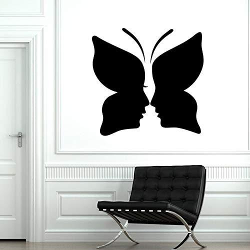 Quszpm Wand Vinyl Aufkleber Schmetterling Männer und Frauen Schlafzimmer Aufkleber 57X55CM