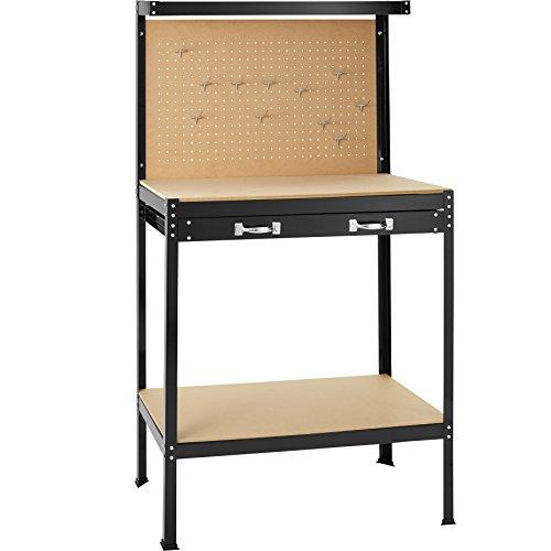 TecTake Werkbank | Werkzeugbank mit Schublade | Lochwand für hängende Werkzeuge - Verschiedene Größen (81 x 41 x 145 cm | Nr. 402749)