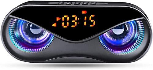 Altavoz inalámbrico portátil, diseño de búho altavoz bluetooth con flash LED, tarjeta TF FM radio despertador reloj con pantalla inteligente-Negro
