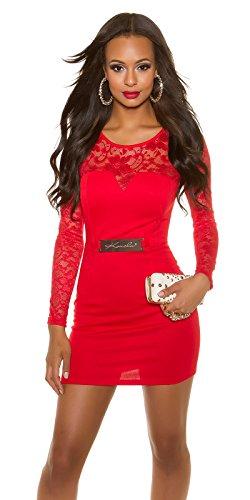 Koucla Elegantes Etuikleid mit Spitze - Langarm Abendkleid Minikleid Schwarz Weiss Rot S - XL (S (8), 3 Rot)