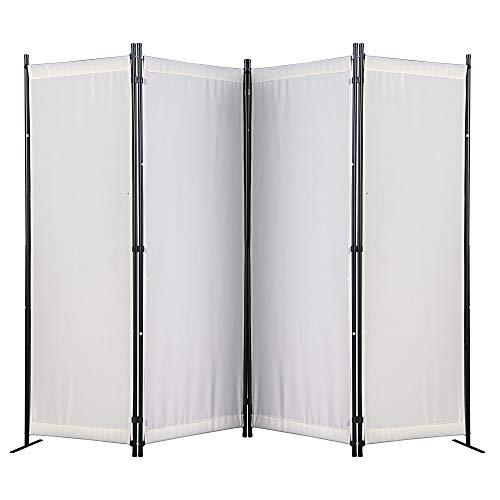 Amazon Brand - Umi Paravent 4 Teilig 170 x 220 cm Raumteiler Trennwand Stellwand Balkon Sichtschutz Faltbar(Beige)
