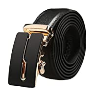 uxcell ベルト メンズ 自動バックル ラチェット ビジネス 紳士 レザー 幅 3.5cm 121-156cm ブラック カーブ 160cm