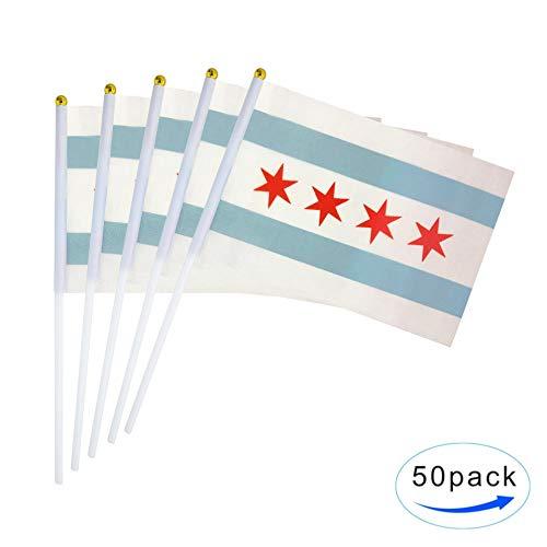 TSMD City of Chicago-Flagge, 50 Stück kleine Mini-Handheld Chicago IL Flaggen auf Stick, Party-Dekorationen für Chicago Schule Sport Event Feier