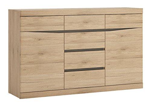 Furniture To Go 3, Medium Oak, Wide 2 Door 6 Drawer Sideboard