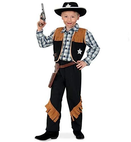 KarnevalsTeufel Kinderkostüm-Set Sheriff, 5-TLG. Weste, Hose, Cowboyhut, Revolvergürtel und Spielzeug-Revolver | Größen 104 - 152 | Cowboy, Wilder Westen, Karneval (128)
